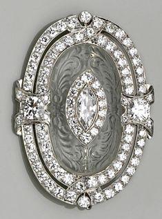 europeancut diamond, rock crystal, platinum brooch, deco rock