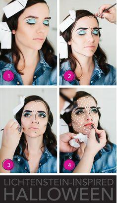 Lichtenstein-Inspired Halloween Makeup   Comic Book
