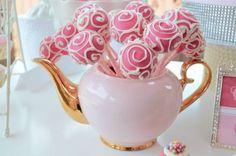 display cake pops, bridal tea party cake, birthday parties, pink cakes, pink parti, tea party birthday cake, tea party cake pops, high tea display ideas, cake pop birthday
