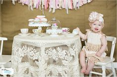 So cute! One Year Birthday photo shoot! Tea Party! © 2014 Lacy Dagerath - www.morethananimage.com
