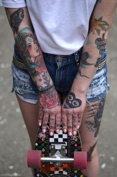 Skater girl tattoos fashion nails tattoo hands skateboard arms