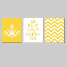 Keep Calm Carry On, Chevron, and Chandelier Trio - Set of Three 8 x 10 Prints - in Yellow and White - Modern, Minimalist. $55.00 USD, via Etsy.