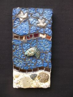 Mixed Media Mosaic Wall Art - Blue Fish with Doves. $26.00, via Etsy.
