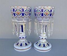 GORGEOUS ANTIQUE MOSER BOHEMIAN COBALT BLUE CASED GLASS FACET CUT MANTLE LUSTRES