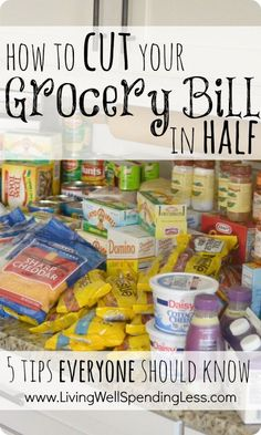 How to cut your grocery bill in half.  These five simple strategies can save you hundreds each month on the food your family already buys. A must read!