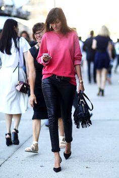 Emmanuelle Alt in a bright pink sweatshirt, leather pants Saint Laurent fringe bag & d'orsay pumps #nyfw #streetstyle #fashion #style