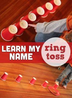Ring Toss Name Recognition Activity - what a great way to learn your name #preschool #kidsactivities #alphabet