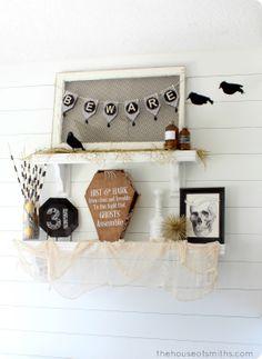 Halloween Shelf Decor - black, gold and white Art Deco inspired - thehouseofsmiths.com #halloweendecor #halloweendecoratingideas halloween decor, fall glam, halloween fun, fall time, decor scene, black gold, art deco, decor ida, halloween shelf