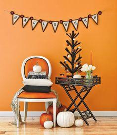 halloween parties, chair, orang, tree, pumpkin, banner