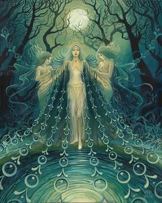 """""""Nyx ~ Goddess of the Night""""   Painting by Emily Balivet.    One of the first and most powerful beings in the universe, Nyx is the daughter of Chaos and sister and consort to Erubus (the God of Darkness). Homer calls her the subduer of gods and men, and relates that even Zeus stood in awe of her."""