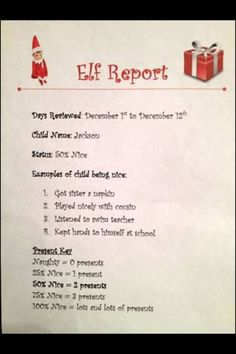 elf on a shelf report | Elf on a Shelf report card! by dina