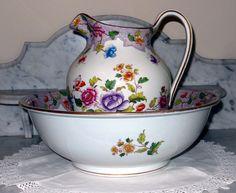 Vintage Royal Cauldon Floral Pitcher and Basin