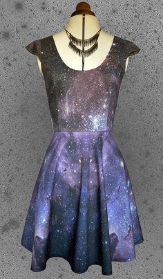 Space print dress- Womens galaxy, star print