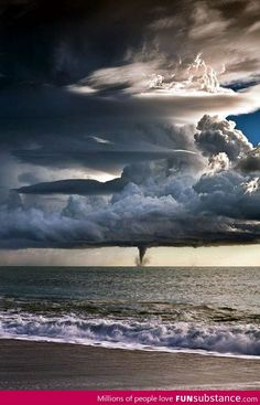 Twister over the sea.