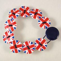British Flag Button Bracelet - Large by XOHandworks $10