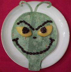 Grinch from a quesadilla