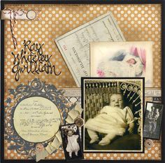 Baby RWG ~ Sweet vintage baby book page with pocket for removable memorabilia.