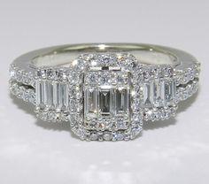 14K White Gold 3Stone Brilliant 1 ct Diamond by GalaxyGems on Etsy, $1000.00