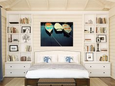 beaches, bookcases, beds, camden, master bedrooms, hous, shelv, bedroom art, canvases