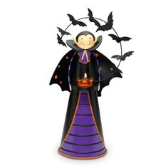 """COUNT BATCULA™ TEALIGHT HOLDER Item #:  P90805 Charming vampire friend and an entourage of glittery bats gather around the glow of a tealight, sold separately. Metal. 12""""h to top of head, 5"""" base dia. Sale! $8.00 each"""