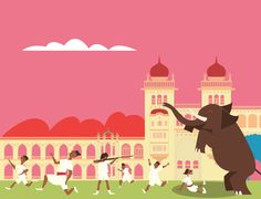 Mysore Palace –part of a Panorama drawing I'm working on for #JörgitsIndia