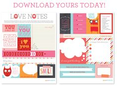 Free Valentine's printables - love notes and other valentines
