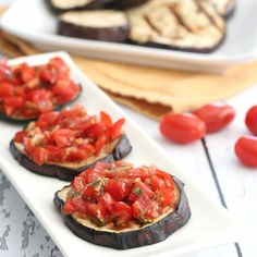 Grilled Eggplant Bruschetta - skip the bread for a healthy alternative. Naturally gluten-free and paleo.