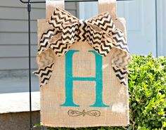 Personalized Burlap Yard Flag with Chevron Bow