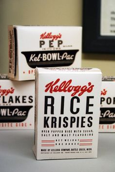 More black, white and red: vintage Kellogg's Rice Krispies cereal boxes.  (Source: doobybrain.com, via dot-let) vintag kellogg, packag, vintage, cereal boxes, rice krispies, kellogg rice, cereals, krispi cereal, design