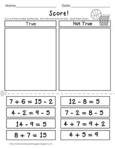 Basketball Math Center Fun-FREEBIE