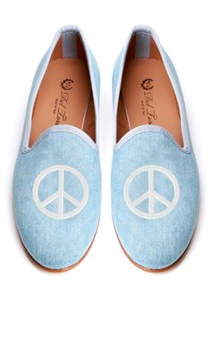 Prince Albert Denim Slipper Loafers With White Peace Sign Embroidery