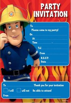 Fireman Sam Party Invitations