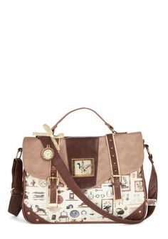 Collector's Item Bag by Disaster Designs - Cream, Brown, Multi, Buckles, Rustic, Better, International Designer, Faux Leather, Novelty Print...