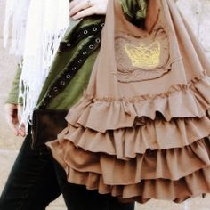 Ruffles are in baby. Grab this trend by upcycling two tees into this super cute ruffled bag.