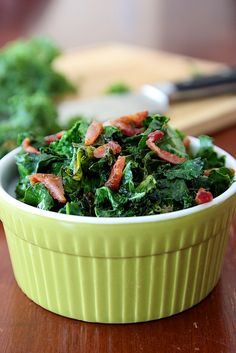 Wilted Organic Kale & Bacon.