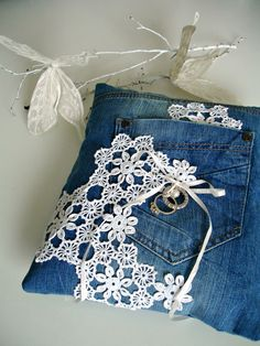 ring bearer pillow in denim and lace--or just an accent pillow