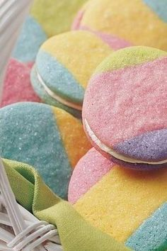 Cut with 2- to 2 1/2-inch egg-shaped cookie cutter so each cookie has 3 colors.