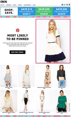 Asos uses their most popular looks on Pinterest in email marketing.