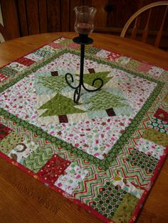 Wintergreen Table Topper. Christmas Table by WoodenNeedleNook christmas tree toppers, christmas quilting, christmas tables, christma tabl, quilted table toppers, quilted crafts, quilt idea, christmas trees, christma quilt
