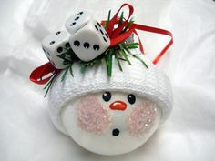 Bunco Dice Christmas Ornament Snowman Tree Bulb Hand Painted Glass Snowball face
