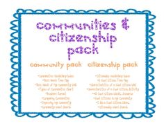 This social studies pack includes graphic organizers, formats, and activities to work with the concepts of communities and being a good citizen. Th...