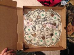 Money arranged like slices in a pizza! Use dollar coins as the pepperoni. Makes a great, cheesy, money gift, without looking like you put it together last minute in an envelope. coins, gift ideas, boxes, pizza, gifts, money gift, dollar coin, envelop, last minute