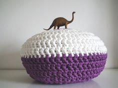 Crochet floor cushions  Purple Crochet Pouf Eco by LoopingHome