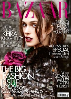 Keria Knightley On the september issue of Harper's Bazaar wearing a tweed and feather jacket from Chanel