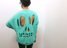 Mint Skull Cut-Out Sweatshirt