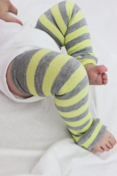I must HAVE these yellow and gray Striped Baby Leg Warmers!