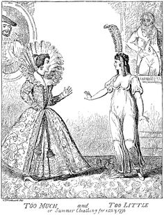 Too much.  Too little. | Fashion caricature 1556/1796 by Issac Cruikshank