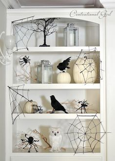 Black & White Halloween...spider webs made from glue, wax paper and black glitter