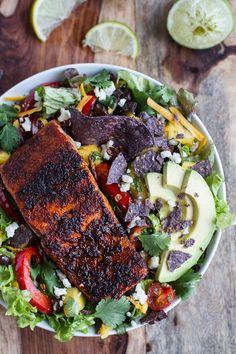 Chile Lime Salmon Fajita Salad with Cilantro Lime Vinaigrette by halfbakedharvest #Salad #Salmon #Chile #LIme #Fajita #Avocado #Mango #Black_Bean #Cheese #Healthy