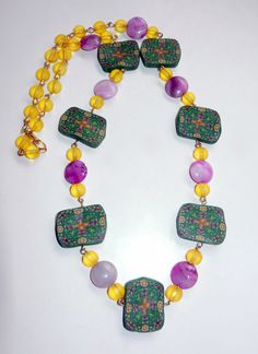 Beaded Necklace Polymer Clay by CloudNineDesignz on Etsy, $35.00